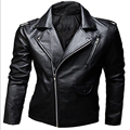 Leather Jackets Male Fashion Zipper Coat of  Men's Pure Color Leather Coat Male High Quality Jaqueta Masculina