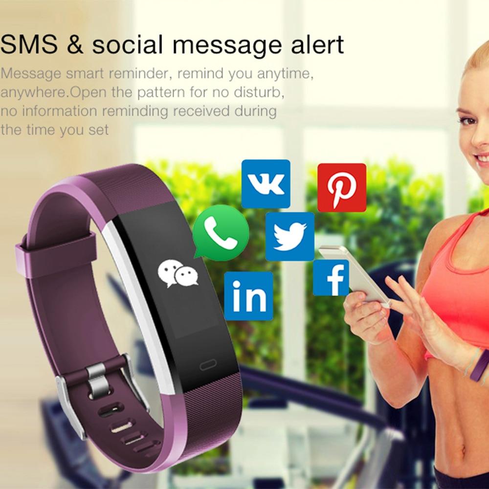 BUMVOR ID115 HR Plus Smart Bracelet Fitness and Sleep Tracker Pedometer Heart Rate Monitor Smart band Wristband