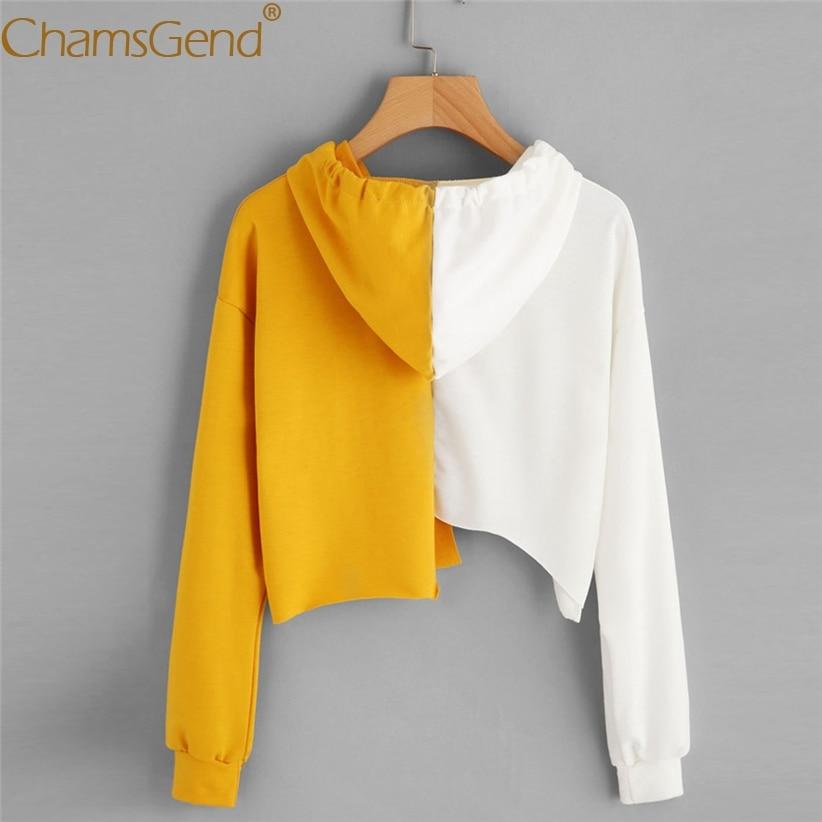 Chamsgend Hoodies White-Yellow Patchwork Crop Top Hoodie Women Hoodies Sweatshirts Pullover Sudadera Mujer 71207