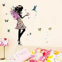 2017 Hot Angel Wings Beautiful Girl Flowers Butterfly DIY Wall Stickers Removable Home baby room wallpaper for kids room