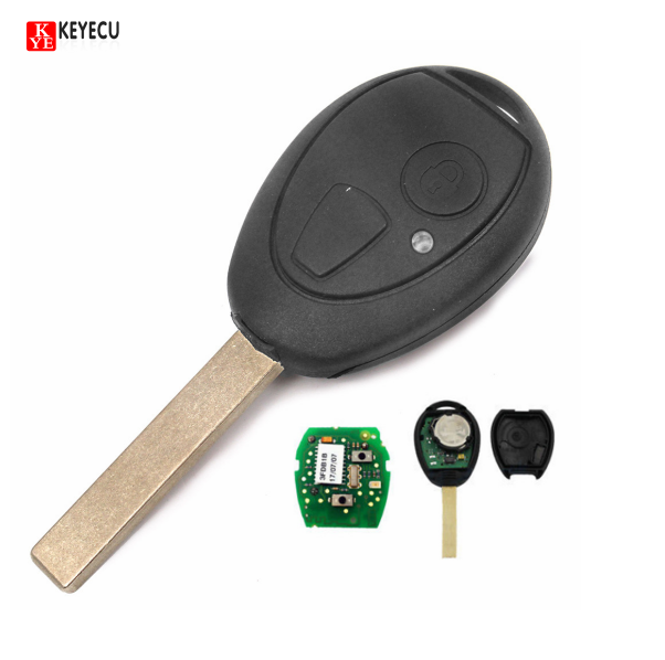 KEYECU 2 Button Remote Key FOB 433MHz With Blank Blade and Virgin Chip PCF7930AS for BMW