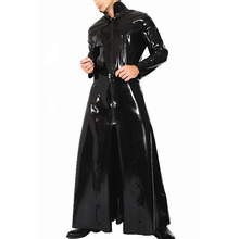 Black Men Patent Faux Leather Suits Tight Trench Stand Neck Role Glossy Male Sexy Cosplay Costume Clothing (ONLY TRENCH)