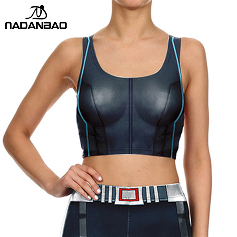 NADANBAO Brand 2017 New Fashion Cosplay Movie Character Crop   top   Silver Iron Metal Armour Women   tank     top   O-Neck Short Cami   Top