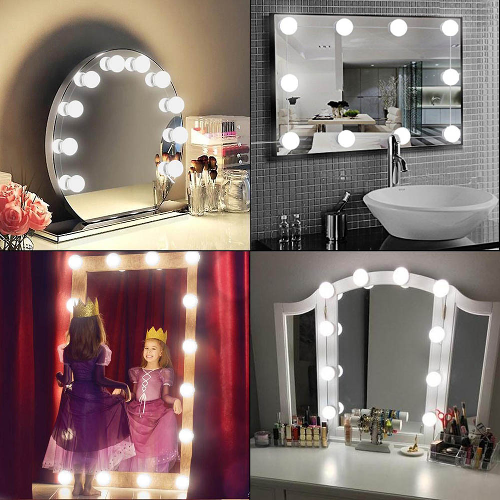 Newest 10 LED Mirror Light Bulb Set USB Powered Makeup Mirrors Lamp for Bathroom Dressing Room Bedroom