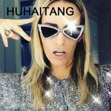 HUHAITANG marque de luxe diamant lunettes de soleil femmes sexy triangle  femelle diamant lunettes de soleil pour dames 2018 marq. 08f4db7baf67