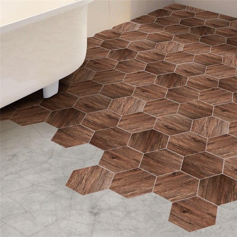Hexagon Shape Wood Grain Pattern Wall