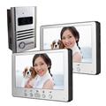 7 Inch IR Night Vision With 2 Monitor Intercom System Wired Video Door Phone