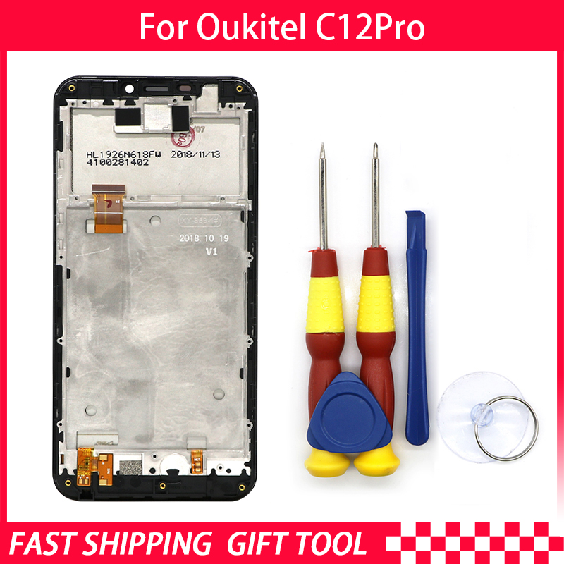 New Touch Screen LCD Display For Oukitel C12 pro Digitizer Assembly With Frame Replacement Parts+Disassemble ToolNew Touch Screen LCD Display For Oukitel C12 pro Digitizer Assembly With Frame Replacement Parts+Disassemble Tool