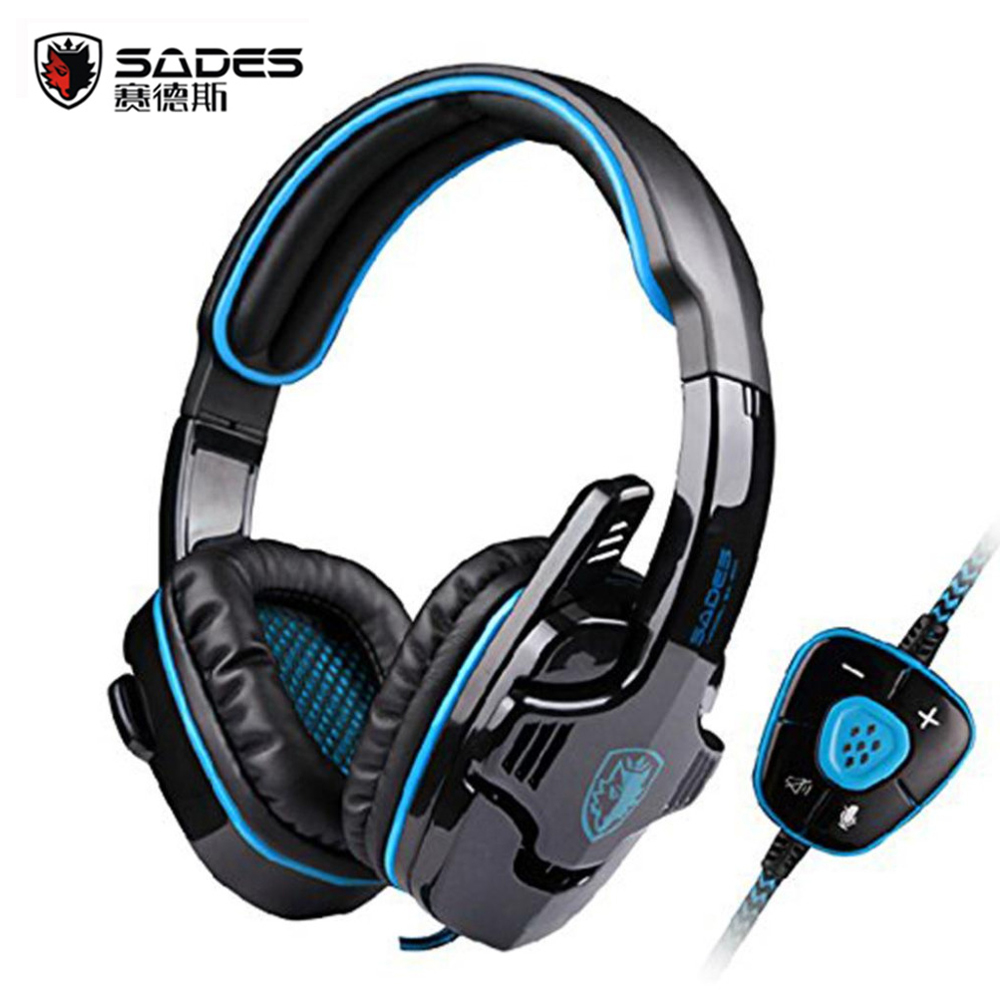 Hot Sale SADES SA-901 Fone De Ouvido 7.1 Surround Sound Headset Gamer With Mic Remote Control USB Stereo Bass Earphone for PC sades a6 usb 7 1 surround sound stereo gaming headset headband over ear headphone with mic volume control led light for pc gamer