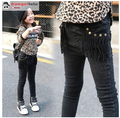 Free Shipping Winter black rivet tassel and pile height pencil pants in male and female children stretch jeans