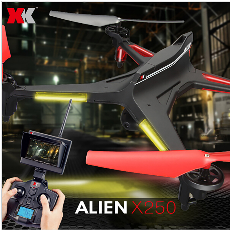 XK X250 FPV Verion with 720P Camera and Monitor 4CH 6 Axis RC Quadcopter RTF Compatible With Futaba S-FHSS Christmas gifts xk x250 4ch 6 axis rc quadcopter rtf 2 4g xk alien x250 free shipping
