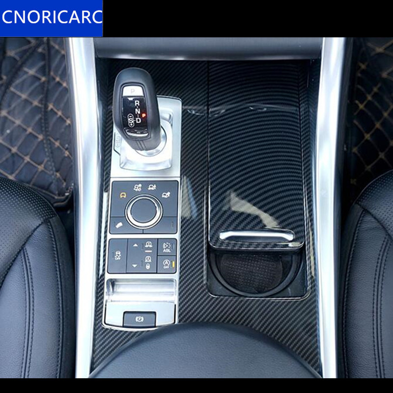 CNORICARC ABS Center Console Gear Shift Panel Trim Decals for Land Rover Range Rover Sport 2014 17 Carbon fiber color