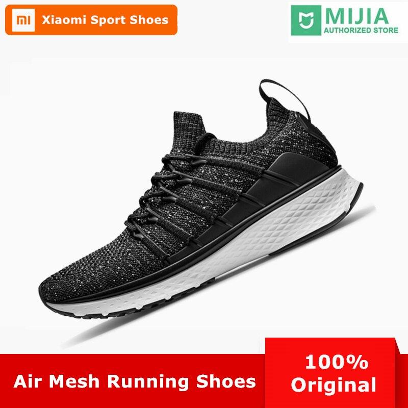 2018 Original Xiaomi Mijia Men Smart Outdoor Sports Running Shoes Fishbone Lock System Elastic Knitting Vamp Male Mi Sneakers