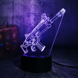 NEW Cool Battle Royale Game PUBG TPS SCAR-L Rifle LED Night Light Desk Lamp RGB 7 Color Boys Kids Toy Home Decor Christmas Gift(China)