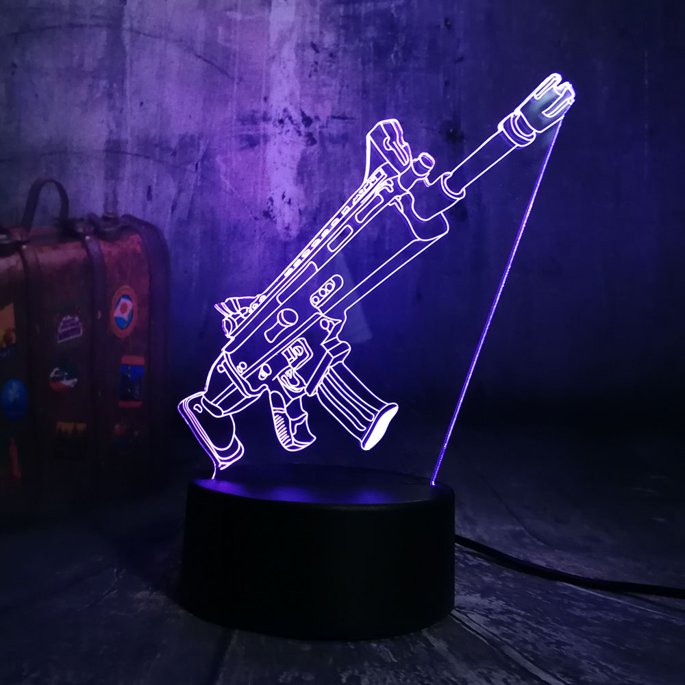 NEW Cool Battle Royale Game PUBG TPS SCAR-L Rifle LED Night Light Desk Lamp RGB 7 Color Boys Kids Toy Home Decor Christmas Gift