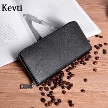 KEVTI Genuine Leather Women Men's Wallet Brand Design High Quality cowhide 2017 phone Card Holder Ladies Long wallet money purse