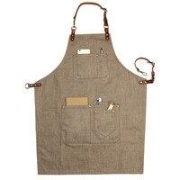 Brown Denim Bib Apron W Leather Strap Barber Barista Florist Chef Baker Bartender Uniform G Carpenter
