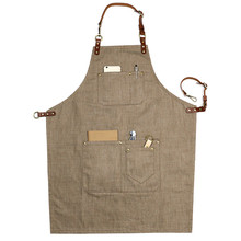 Brown Denim Bib Apron w/ Leather Strap Barber Barista Florist BBQ Chef Baker Bartender Uniform Painter Carpenter Workwear XL K77