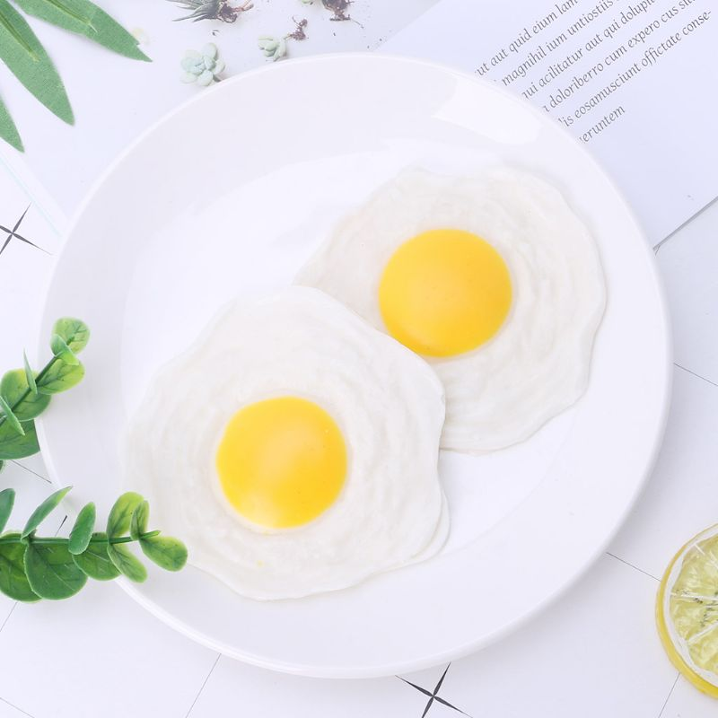 NEW Sticky Rubber Egg Squeeze Kitchen Food Toy Pretend Play Realistic Soft Fake Omelet Cooking Gag Joke Toy Miniature Food