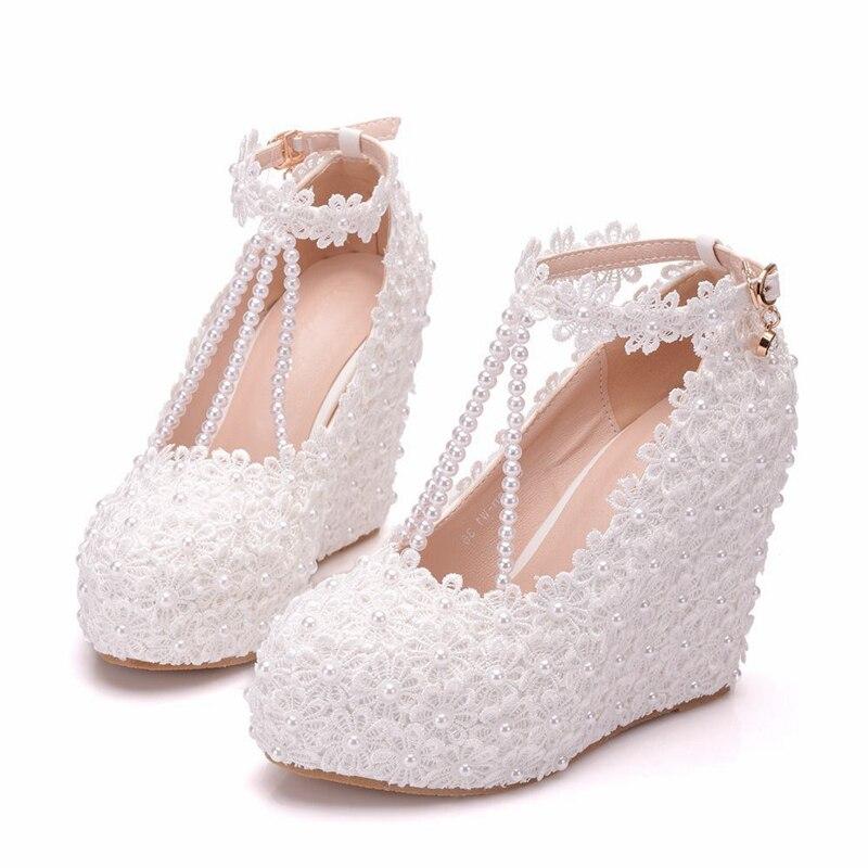 Las Xy De Cristal Flores Plus Redondo Bombas Zapatos 1 Elegante Tacón Boda Tamaño Del Alto Cuñas Encaje Pie a0310 Mujer Mujeres Dedo xYCwdKqHwS