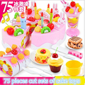 75Pcs With sound and light Kitchen Toys Pretend Play Cutting Birthday Cake Food Toy Kitchen For Plastic Play Food Tea Set m319