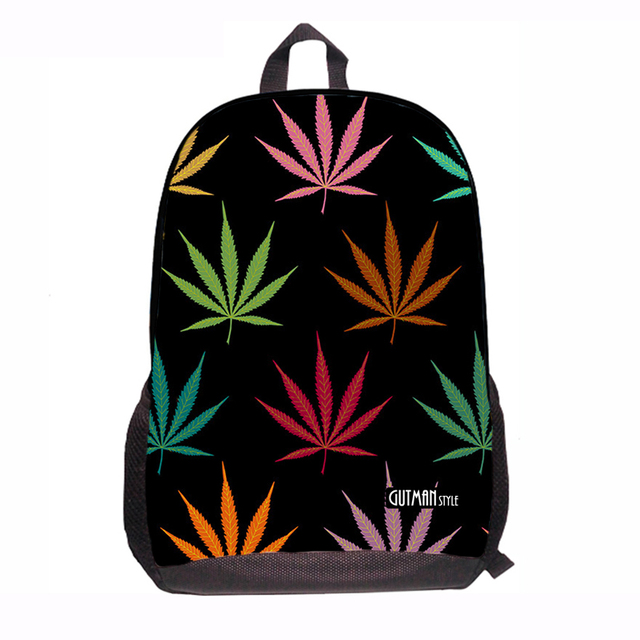 Tumblr School Backpack Indica Weed Hippie Rastafarian Europe Sativa