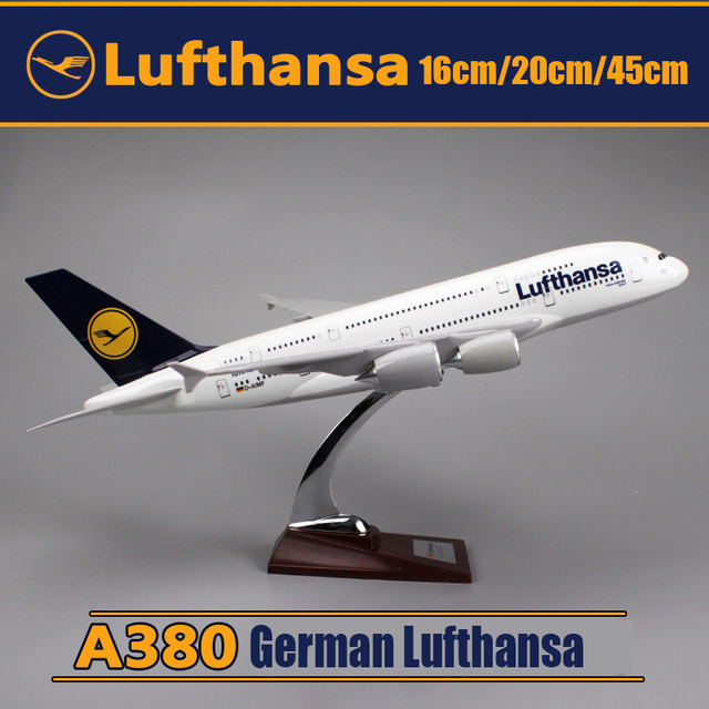 16cm 20cm 45cm German Lufthansa Airplane Model A380-800 Airbus Alloy Resin German Airlines Aviation Aircraft Model Stand Craft