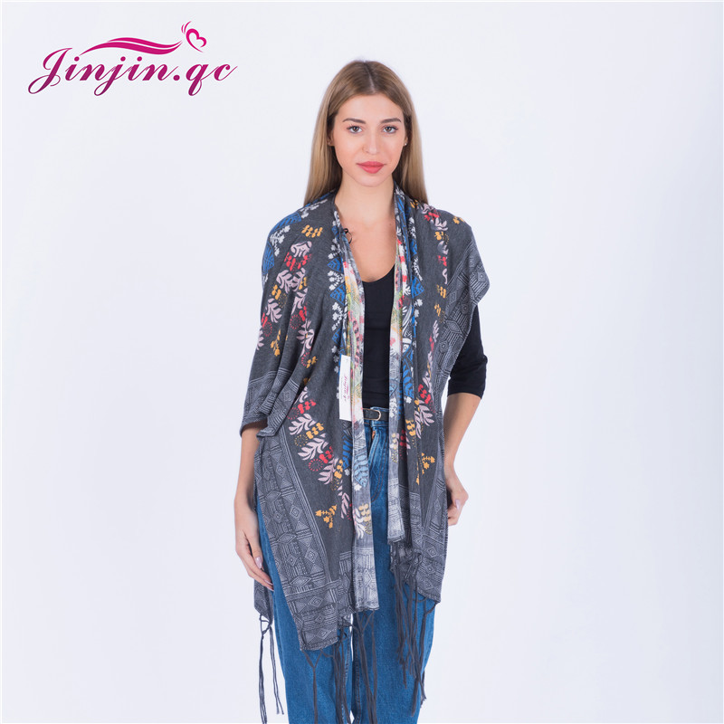 Jinjin QC 2019 new womens floral print poncho fashion women scarf polyester scarves and wraps lady pashmina kimono with tassel in Women 39 s Scarves from Apparel Accessories
