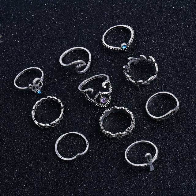 Fleepmart 2019 Fashion 10 Pcs Set Bohemian Ring Vintage Rings
