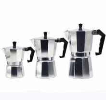 цена на Aluminum Moka Pot Italian Espresso Maker Can Heat -Easy to Use -Makes 3 Cup 150ml 6 Cup 300ml 9 Cup 450ml