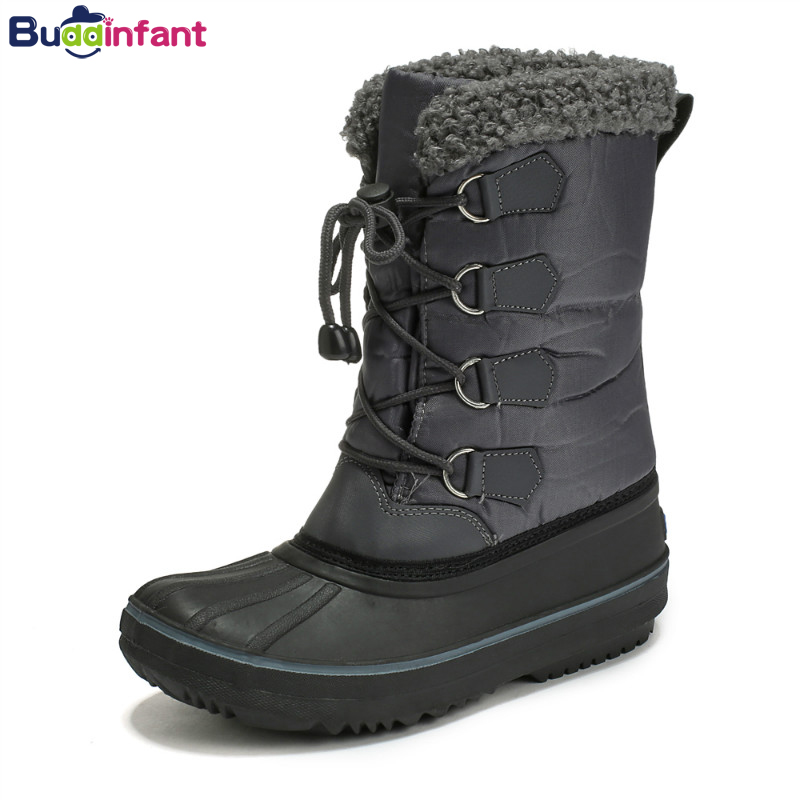 Kids Shoes Boys Winter Boots Children Warm Snow Boots Toddler Boy Girl Winter Shoes Rubber Sole Plush Waterproof Gumboots Girls