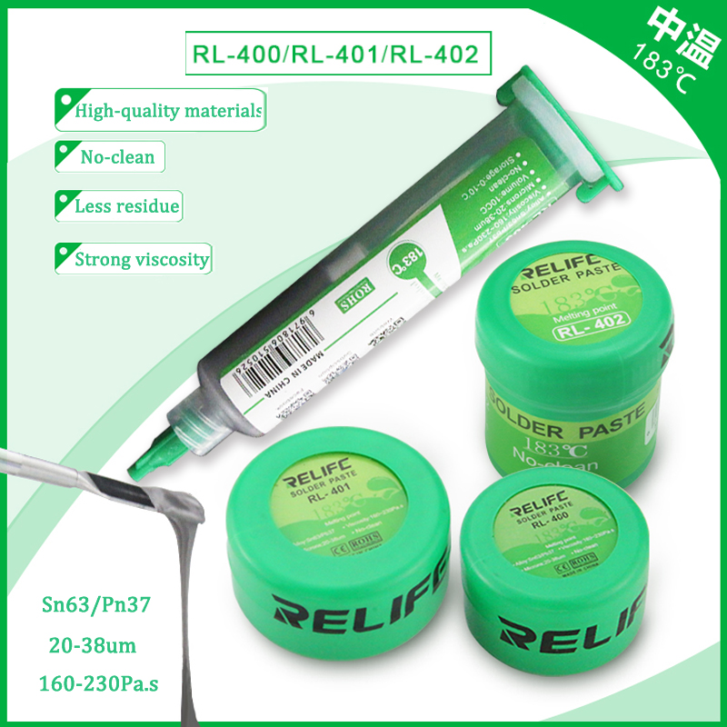 High Quality Solder Paste Flux No-clean Original RELIFE Soldering PasteRL-402 RL-403 Solder Tin Sn63/Pb67 For Soldering Iron