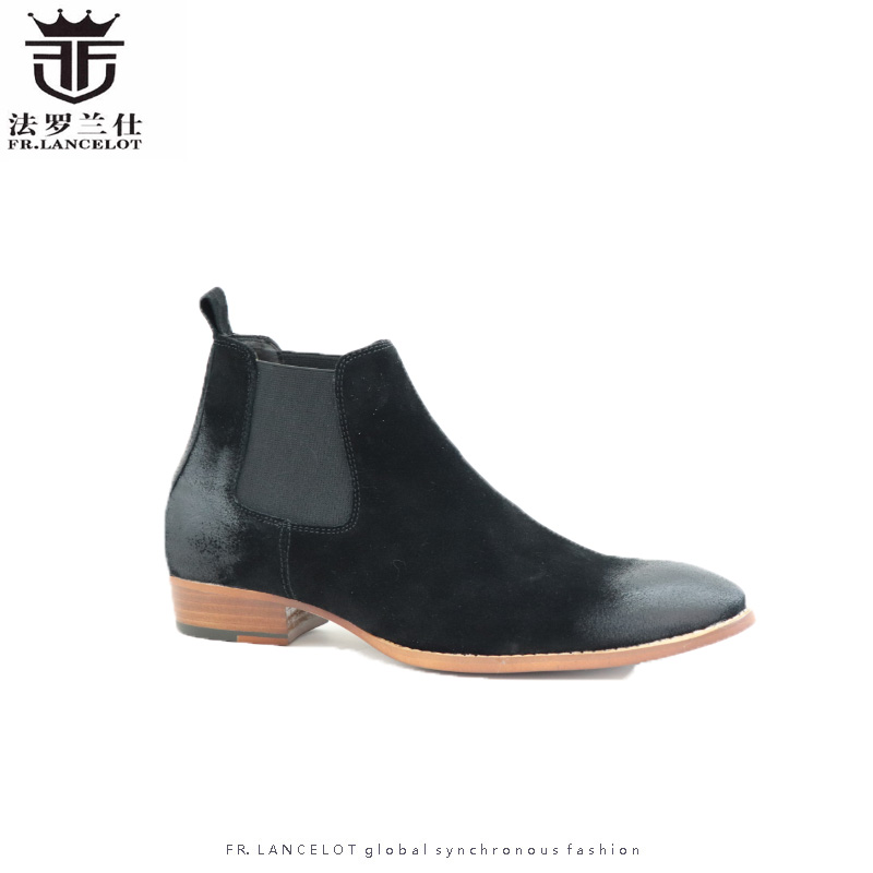 FR.LANCELOT 2018 retro suede leather men booties slip on Chelsea Boots black/grey/brown Ankle Boots Men's trand party shoes
