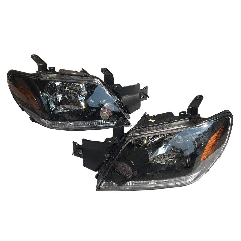 1Pair LH+RH Front Bumper Headlamps Headlights MR991926 MR991925 for Mitsubishi Outlander 2003-2006