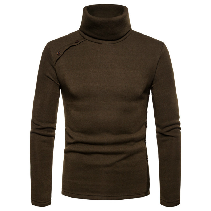 Men's new high collar solid color hoodie for men casual hoodies long sleeve male tops 5 colour