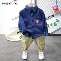 2PCS WLG 2019 spring boys clothing set kids denim blue shirt and khaki pant set baby all match clothes 3 7 years