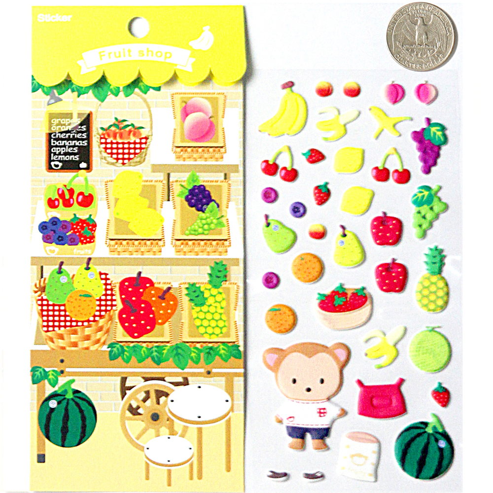 Bubble fruits game - Fruits Market Shop High Quality Special Kawaii Emoji Reward Kids Children Funny Cute Scrapbooking Games Bubble Puffy Stickers