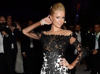 Custom Made 2016 New Arrival Celebrity Dress Gala Paris Hilton Black And White Lace Applique Mermaid