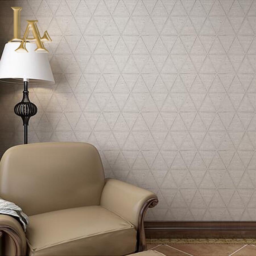 Nonwoven Vintage Geometric Plaid Brick Textured Wallpaper Bedroom Wall Home Decor Brown Grey 3D Paper Rolls W346