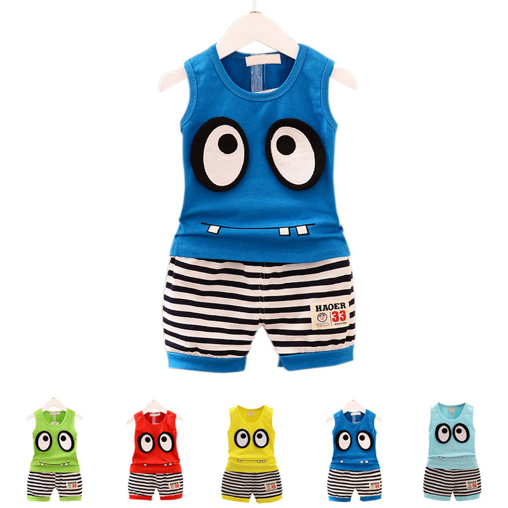 Boys Unisex Baby Big Eyes Simple Summer Sleeveless Shirt Tank Vest And Shorts Cute Soft Clothing Set Summer Children Boy Clothes