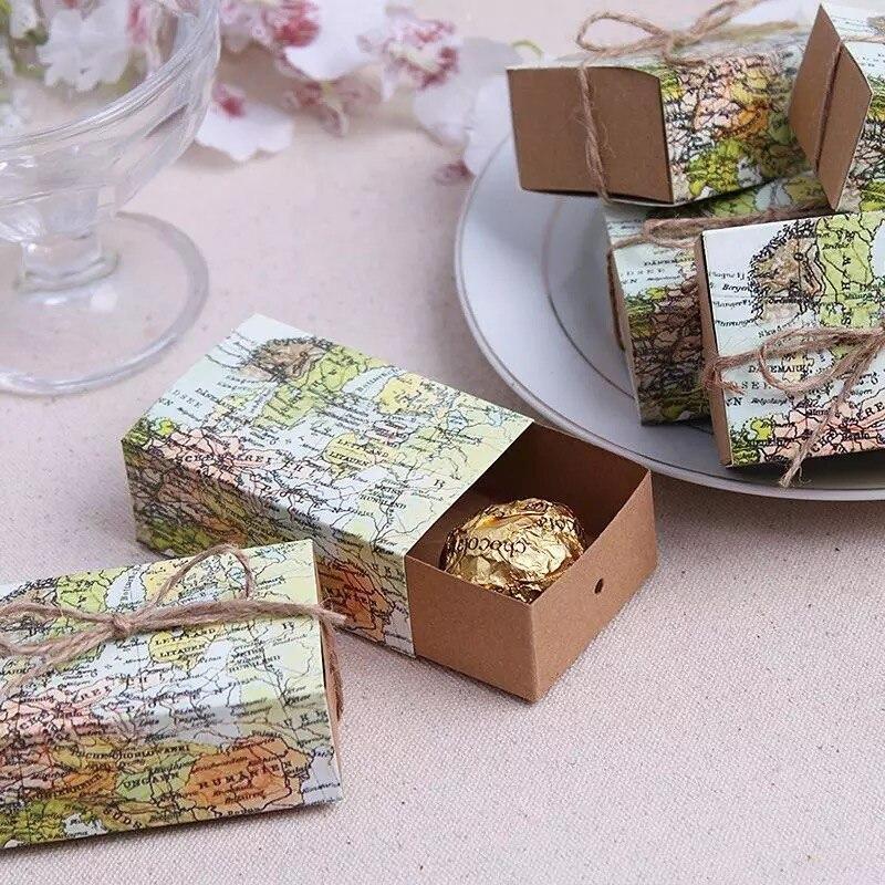 50pcslot Wedding Sweet Favor Box Around The World Map Favor Box
