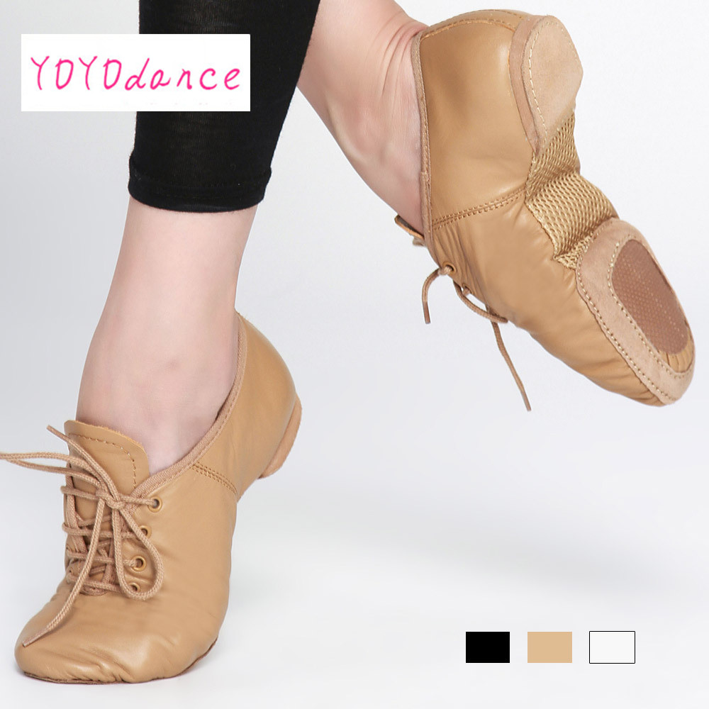 Black White Tan Lace up Premium Cow Genuine Leather Reinforced Outsole Dance Shoes For Girls Boys Jazz Ballet Dancing SneakersBlack White Tan Lace up Premium Cow Genuine Leather Reinforced Outsole Dance Shoes For Girls Boys Jazz Ballet Dancing Sneakers