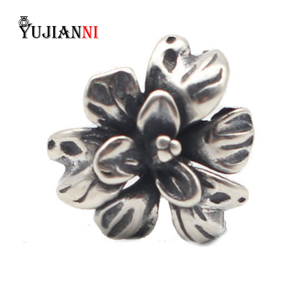 925 Sterling Silver Flowers Charms Beads 4.4mm Hole Fits European DIY Brand Troll Bracelet & Necklace Jewelry pandulaso pure 925 sterling silver jewelry findings sparking safety with logo beads fits charms bracelet women diy jewelry
