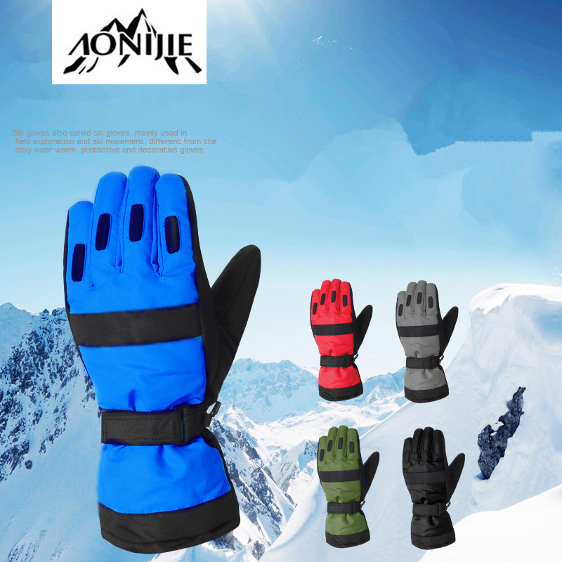 2018 Winter Men Ski Gloves Outdoor Sport Mountain Warm Skiing Gloves Windproof Waterproof Climbing Hiking Gloves Cycling Gloves
