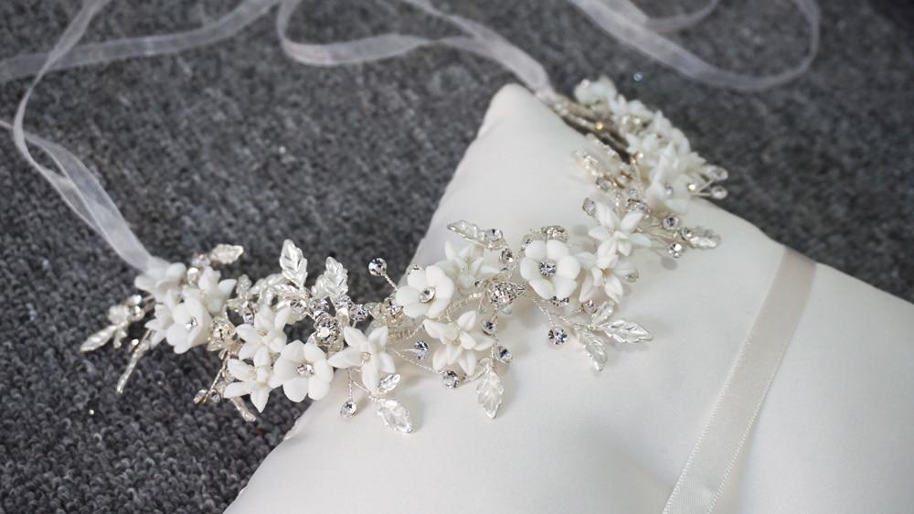 Image 5 - Romantic Clay Flower Bridal Headpiece Antique Silver Leaf Hair  Vine Wedding Crown Brides Hair Accessories 2019Hair Jewelry   -