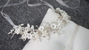 Image 5 - Romantic Clay Flower Bridal Headpiece Antique Silver Leaf Hair Vine Wedding Crown Brides Hair Accessories 2019