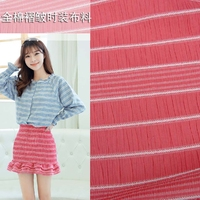 Fold Fashion Cotton Cloth Summer Pressure Plait Yarn Dyed White Stripes Watermelon Pleate Red Cotton Fabric