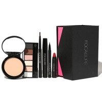 6pcs Makeup Kit Brand FOCALLURE Brand Cosmetics Brow Pens Eyeshadow Powder Lip Eyeliner Mascara Essential Beginner