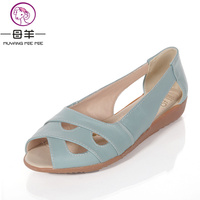 MUYANG Chinese Brand Women Sandals 2015 Summer Shoes Woman Genuine Leather Flat Sandals Women Casual Flats