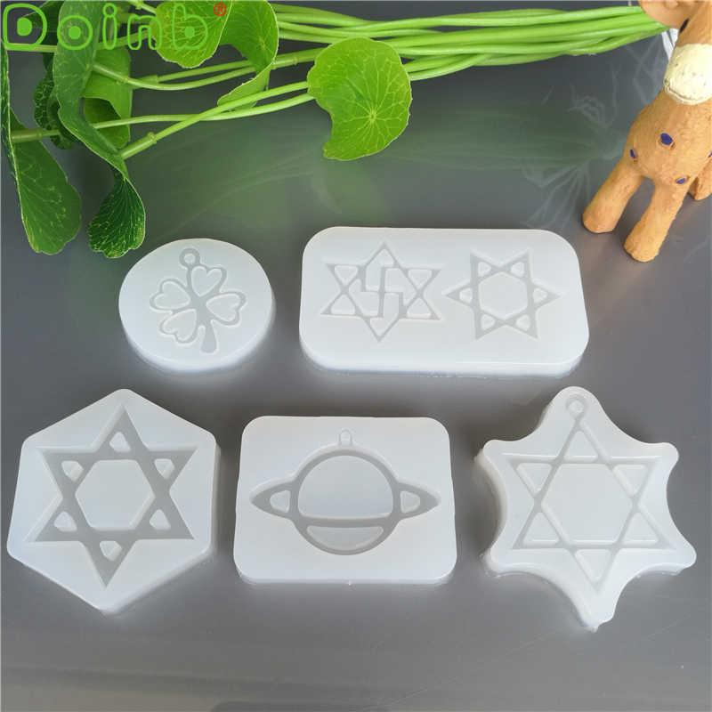 Planet Clover heksagram silikonowe formy narzędzia do dekorowania ciast masą cukrową DIY ozdoby na rękę epoksydowe formy żywiczne do biżuterii